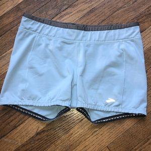 Brooks ladies blue, gray running athletic shorts L